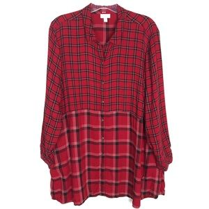 J. Jill red black plaid long sleeve tunic shirt 3X